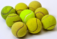 Square made from a group of tennis balls